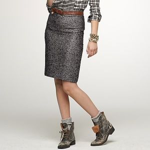 J Crew Black Metallic Norte Tweed Pencil Skirt H42